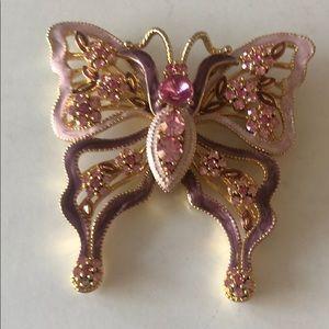 Gold tone enamel jeweled designer butterfly brooch